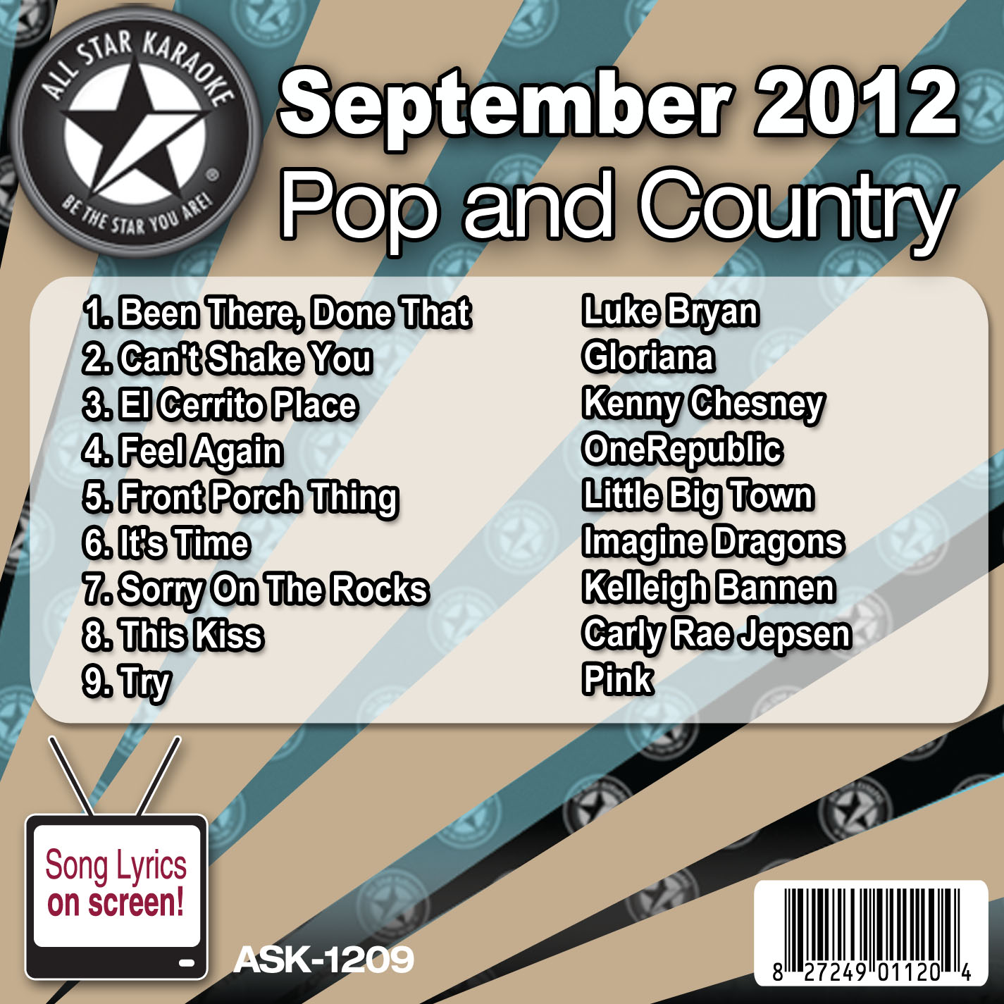 Karaoke Korner - September 2012 Pop and Country Hits Volume 1