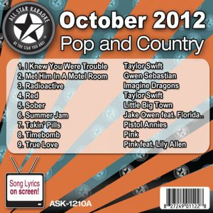Karaoke Korner - October 2012 Pop and Country Hits Volume A