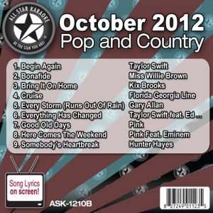 Karaoke Korner - October 2012 Pop and Country Hits Volume B