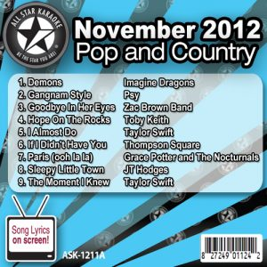Karaoke Korner - November 2012 Pop and Country Hits Volume A