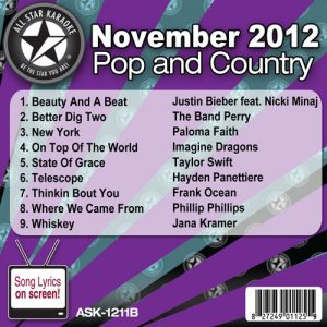 Karaoke Korner - November 2012 Pop and Country Hits Volume B