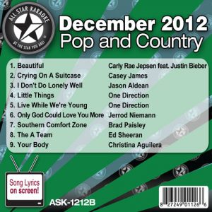 Karaoke Korner - December 2012 Pop and Country Hits Volume B