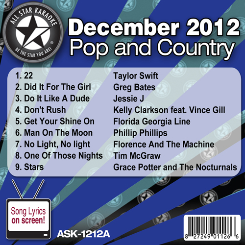 Karaoke Korner - December 2012 Pop and Country Hits Volume A