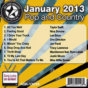 Karaoke Korner - January 2013 Pop and Country Hits Volume A