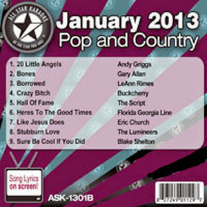 Karaoke Korner - January 2013 Pop and Country Hits Volume B