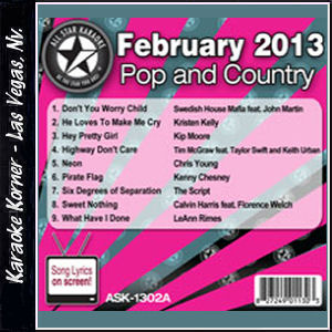 Karaoke Korner - February 2013 Pop and Country Hits Volume A