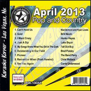 Karaoke Korner - April 2013 Pop and Country Hits Volume A