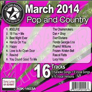 Karaoke Korner - March 2014 Pop and Country Hits A