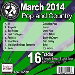 Karaoke Korner - March 2014 Pop and Country Hits B