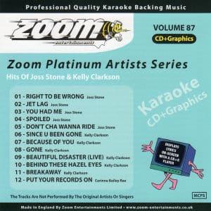 Karaoke Korner - Zoom Platinum Artists - Volume 87