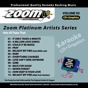 Karaoke Korner - Zoom Platinum Artists - Volume 93